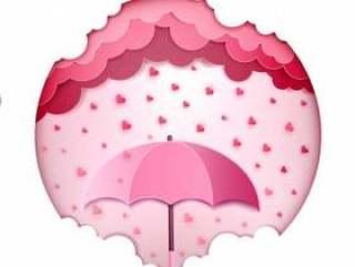 在白色桃红色颜色背景贺卡隔绝的伞和心脏落