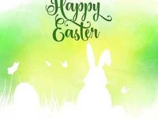 复活节背景与兔子在waterco草地上的剪影
