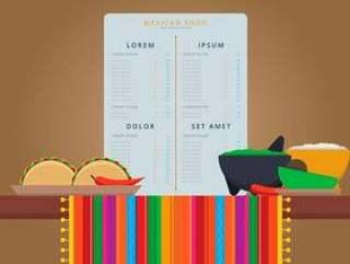墨西哥传统食品菜单矢量