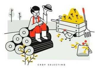 农民作物选择和农业牲畜矢量图