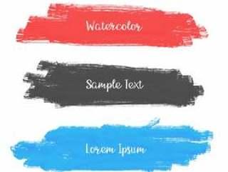 一套三个水彩描边横幅设计