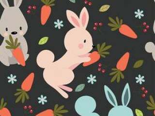可爱的兔子无缝模式