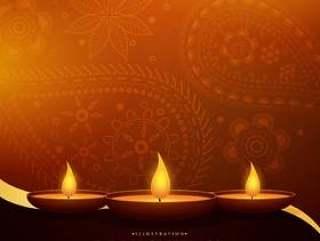 与三diya和佩兹利装饰的愉快的diwali美好的问候