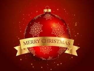 圣诞节节日球与金色丝带红色背景上