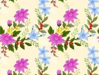 盛开的鲜花无缝图案壁纸背景。