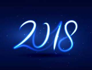 霓虹灯风格2018年新年刻字设计