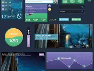 一组蓝紫色浪漫风格UI