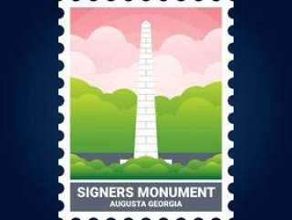 签署者纪念碑插图奥古斯塔格鲁吉亚美国邮票