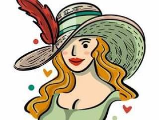 肯塔基德比帽子插图与美丽的女孩