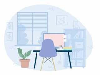 矢量设计师的房间插图