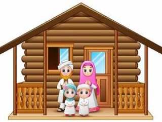 穆斯林家庭动画片在木房子里