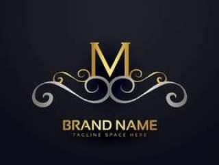 溢价字母M标志设计与花卉效果