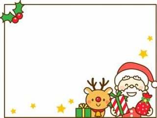 圣诞老人和驯鹿的圣诞节装饰框架
