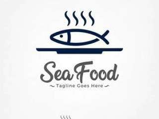 Fish on a plate Logo design vector template.