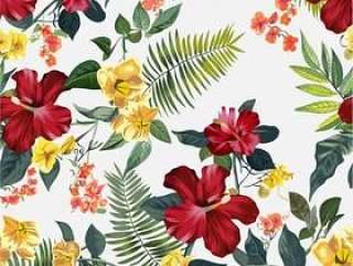 无缝的热带花卉图案