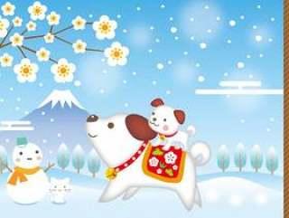 新年的雪景狗父母和孩子