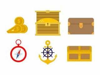 船舶和帆船图标矢量
