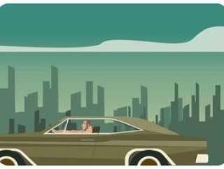 在城市道路矢量上驾驶道奇充电器的人