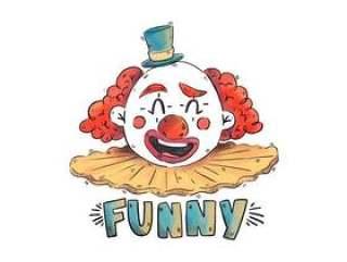 有红色头发和蓝色帽子的微笑的葡萄酒马戏团小丑