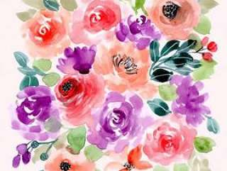 紫罗兰色桃子花卉水彩背景