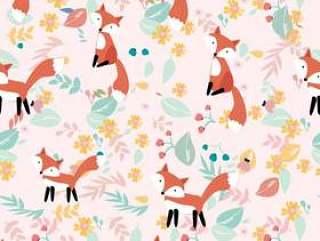 在花的逗人喜爱的狐狸和事假无缝的样式