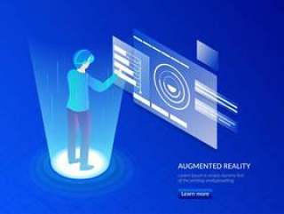 戴VR眼镜的人互动与虚拟世界等距插画矢量素材下载