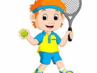 打草坪网球的男孩的例证