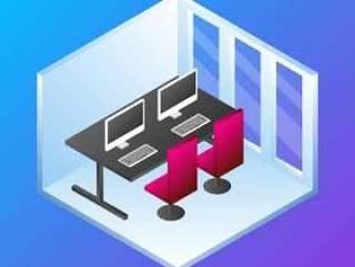 家庭办公室概念等距矢量图