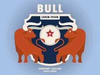 公牛顶徽标徽标标签插图