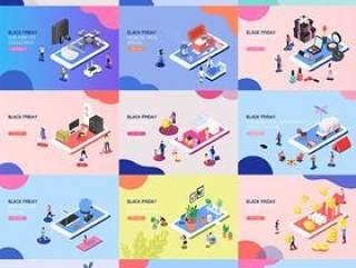 16款手机掌上购物活动UI网页插图2.5D立体插画矢量APP设计素材图