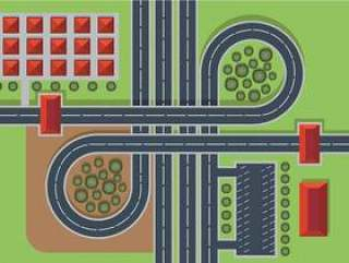 公路顶视图 矢量