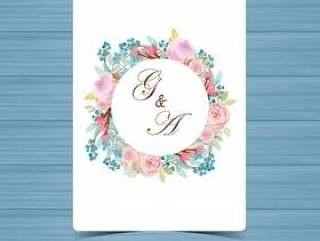 与美丽的桃红色玫瑰的水彩花卉婚礼徽章