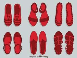 红宝石拖鞋女鞋矢量
