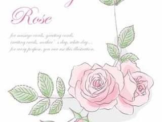 线描的玫瑰角落