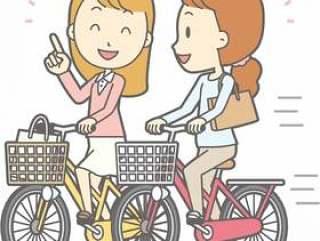 自転车女性-自転车并走-全身