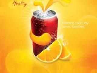 橙汁汽水海报PSD分层素材