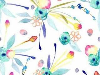 与水彩抽象花的无缝的样式