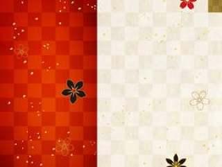 日本图案_红色格子和日本纸_垂直型1651