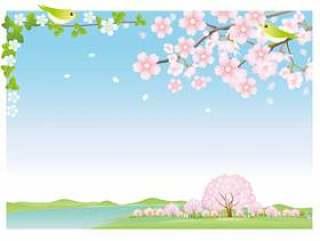 湖和樱桃风景背景