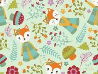 可爱的狐狸和明亮的背景上的花儿童壁纸