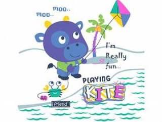 演奏风筝滑稽的动物动画片,传染媒介例证