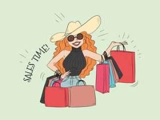 拿着很多购物袋的逗人喜爱的传染媒介妇女