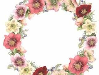 租约11 - 圣诞玫瑰和浆果花卉框架