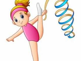 有丝带的节奏性体操女孩