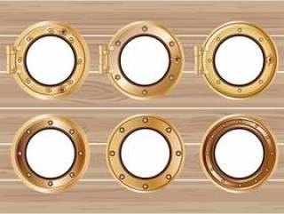 设置一个青铜船舷窗或船在木背景的例证