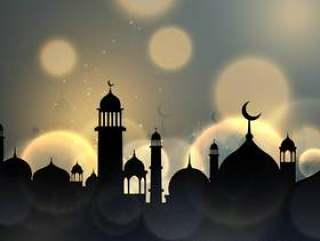 斋月贾巴尔伊斯兰季节性问候与散景效果