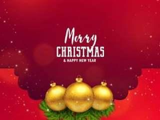 令人敬畏的圣诞节节日设计与金球和树叶