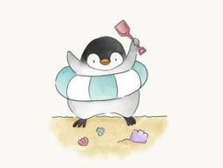 使用在海滩的愉快的企鹅