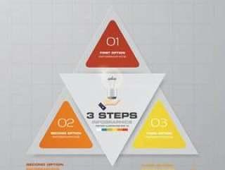 3步现代图表infographics元素。