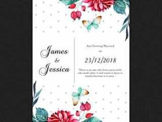 水彩花卉和蝴蝶婚礼邀请卡
